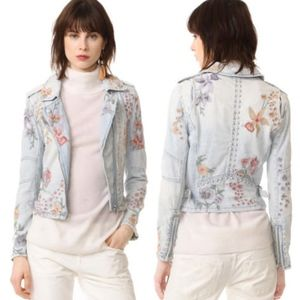 Blank NYC Embroidered Jean Jacket Moto Style NEW